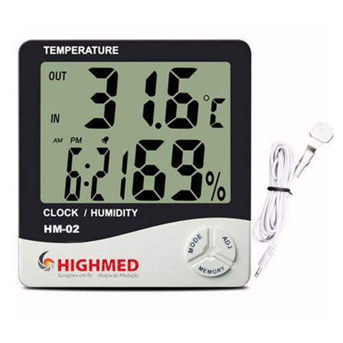 Termo-Higrômetro Digital de Parede e Mesa c/ Sensor Externo  HM 02 - Highmed